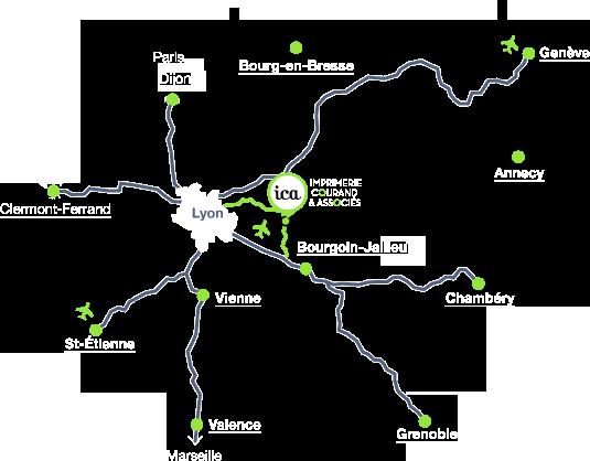 Plan de situation ICA région de Lyon
